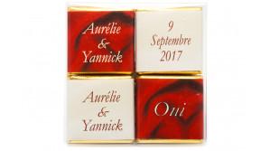 Pochette transparente thème Ivoire & Bordeaux