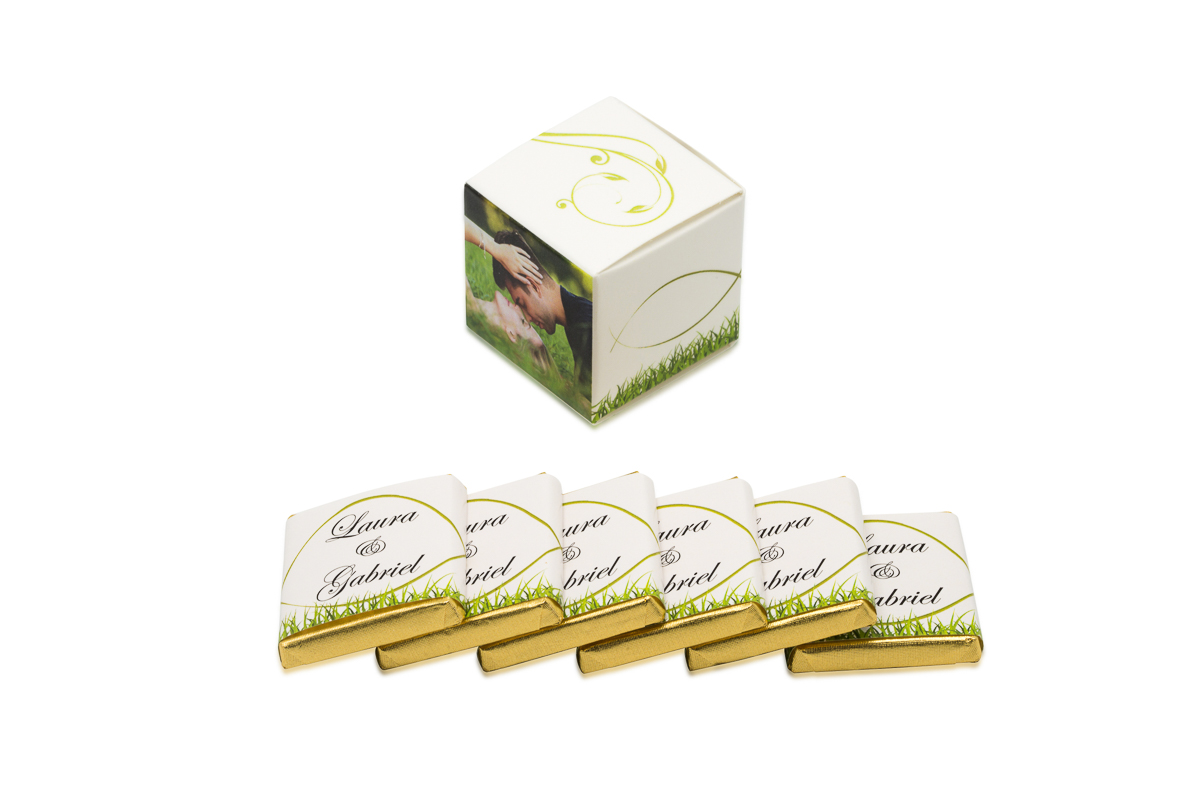 cube simple de 6 chocolats personnalisés Thème champetre