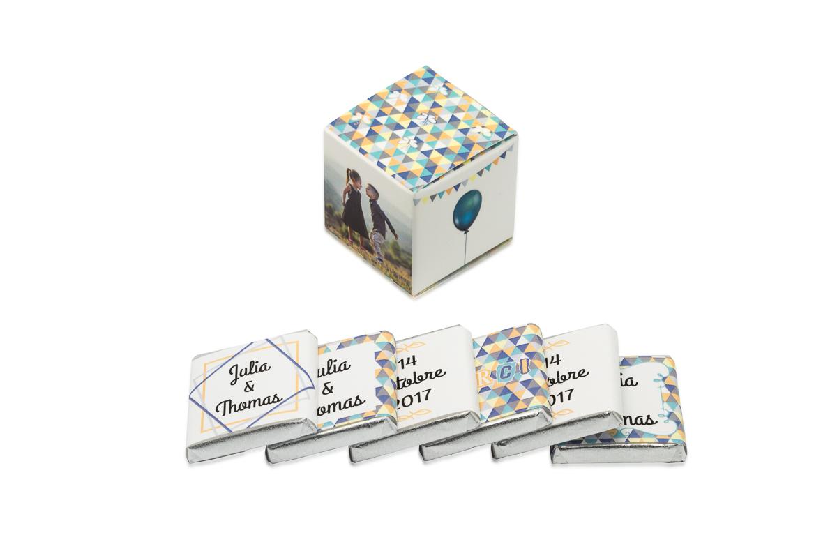 cube simple de 6 chocolats personnalisés Thème Enfantin