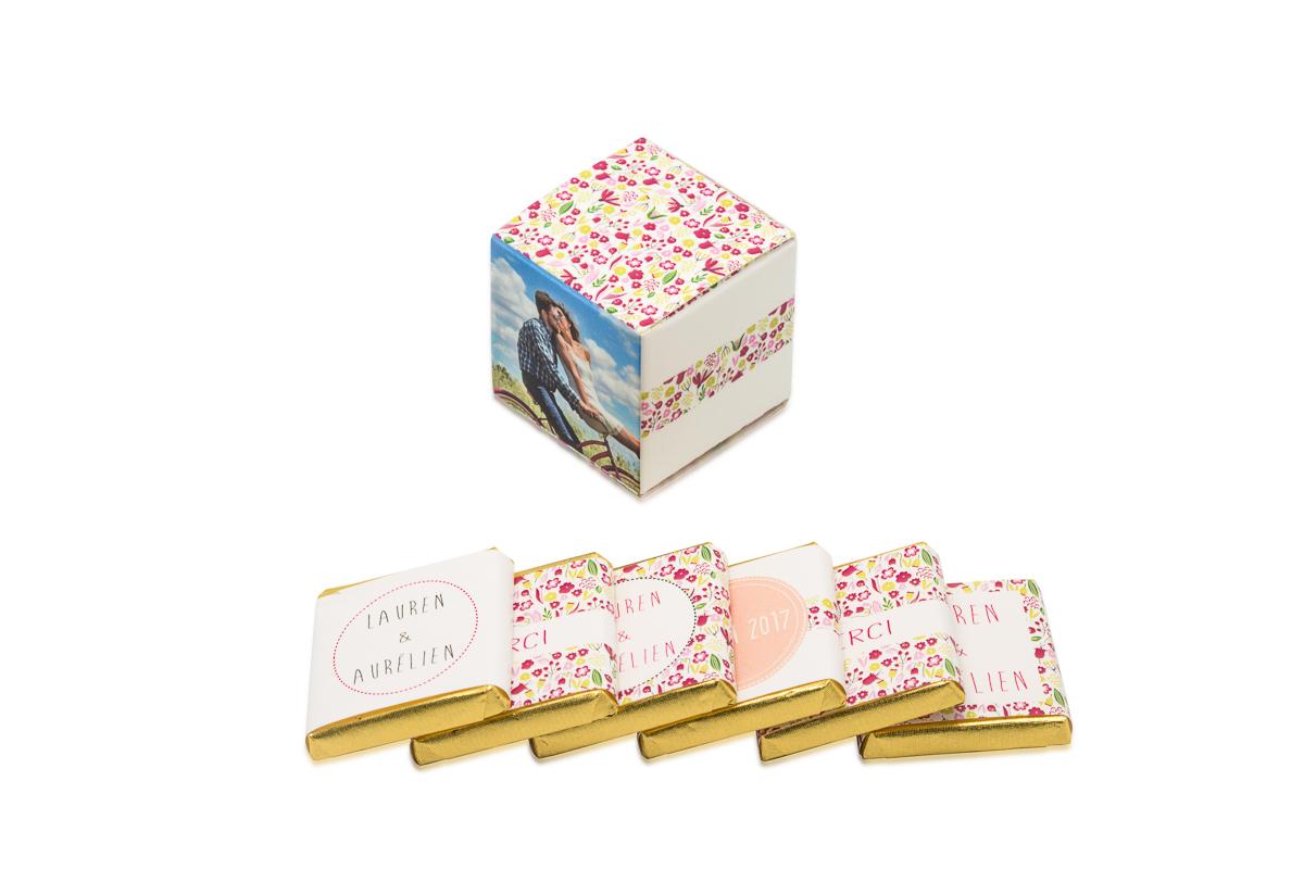 cube simple de 6 chocolats personnalisés Thème Liberty