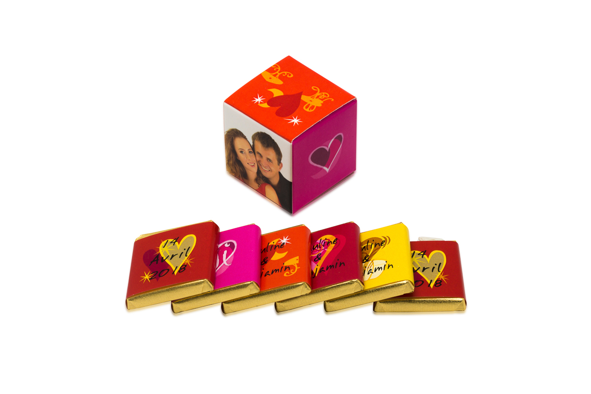 cube simple de 6 chocolats personnalisés Thème tendance