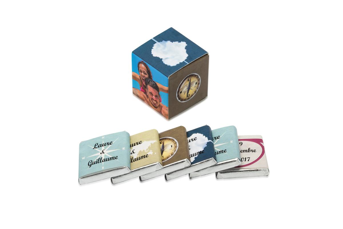 cube simple de 6 chocolats personnalisés Thème Voyage