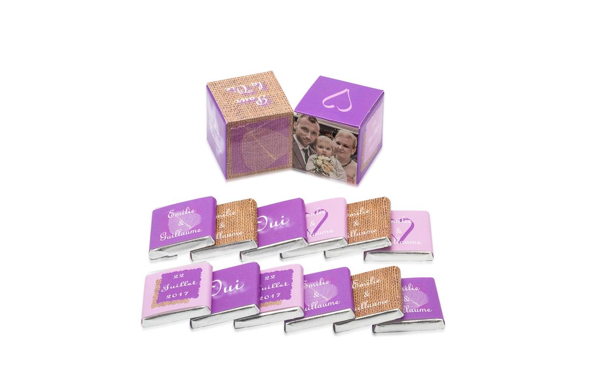 double cube theme ultraviolet avec chocolats