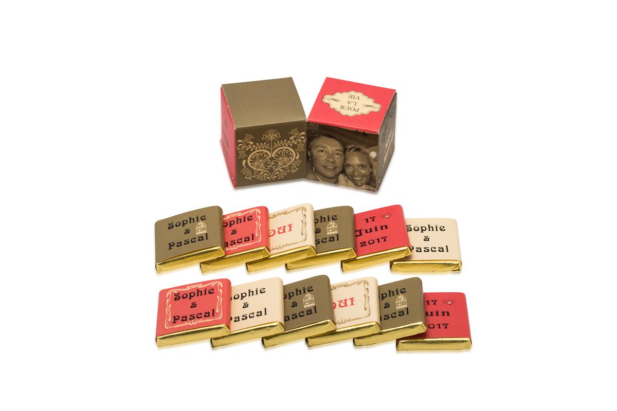 double cube theme vintage avec chocolats