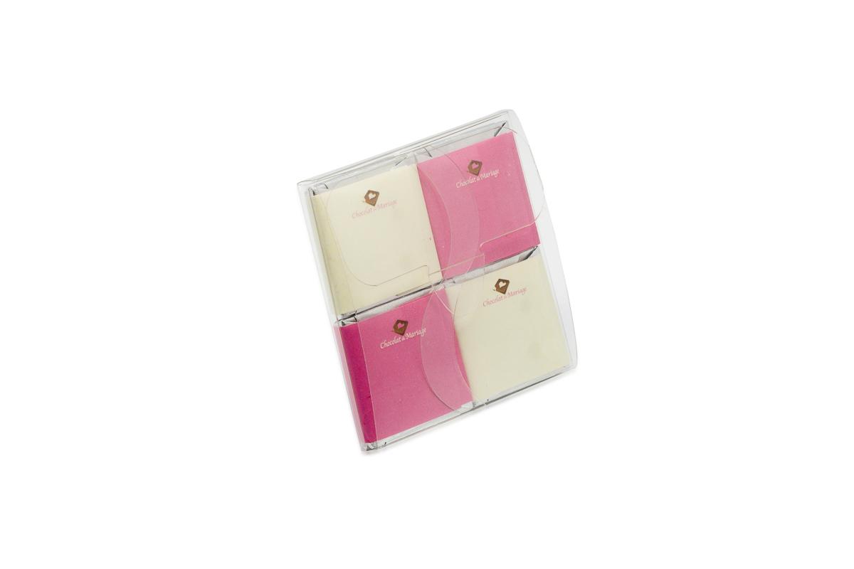 pochette de 4 chocolats personnalisés thème bicolore damier