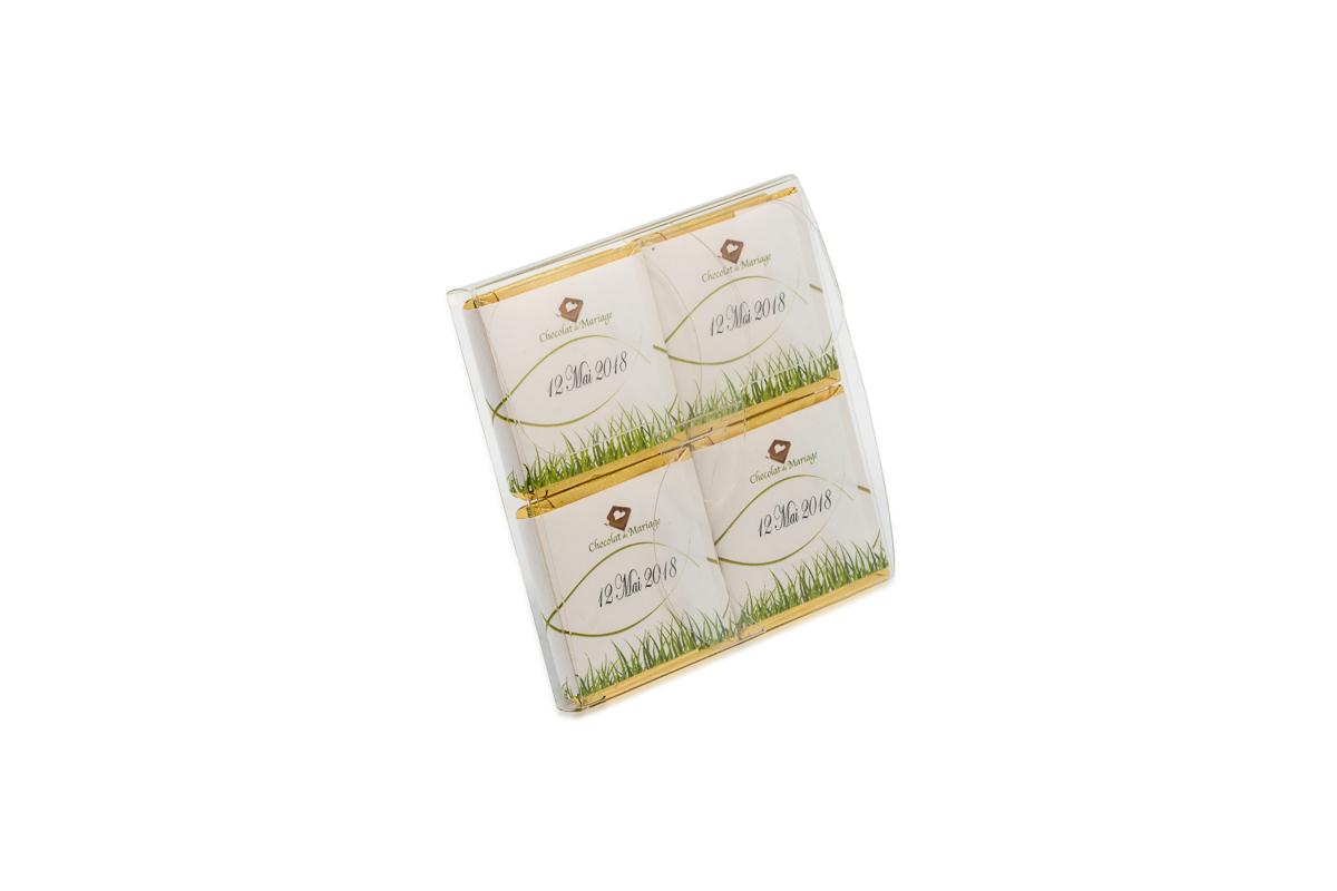 pochette de 4 chocolats personnalisés thème Champetre