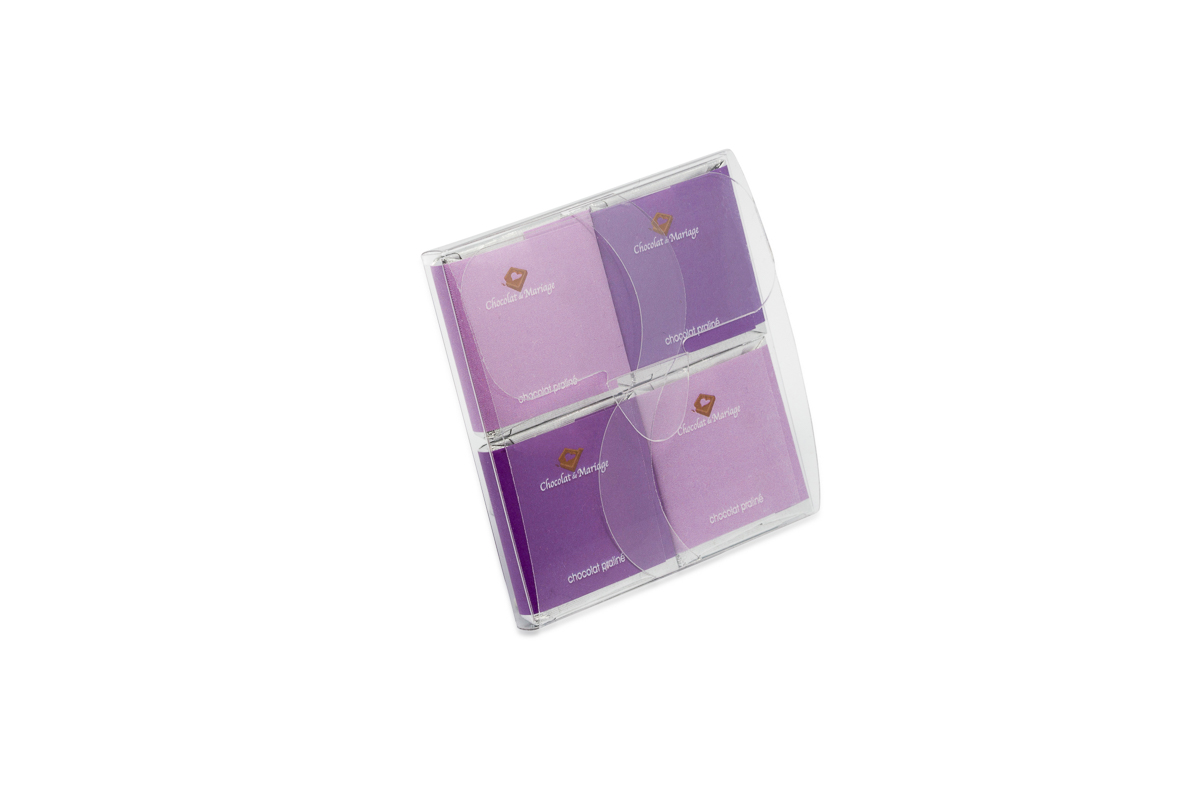 pochette de 4 chocolats personnalisés thème Ultraviolet
