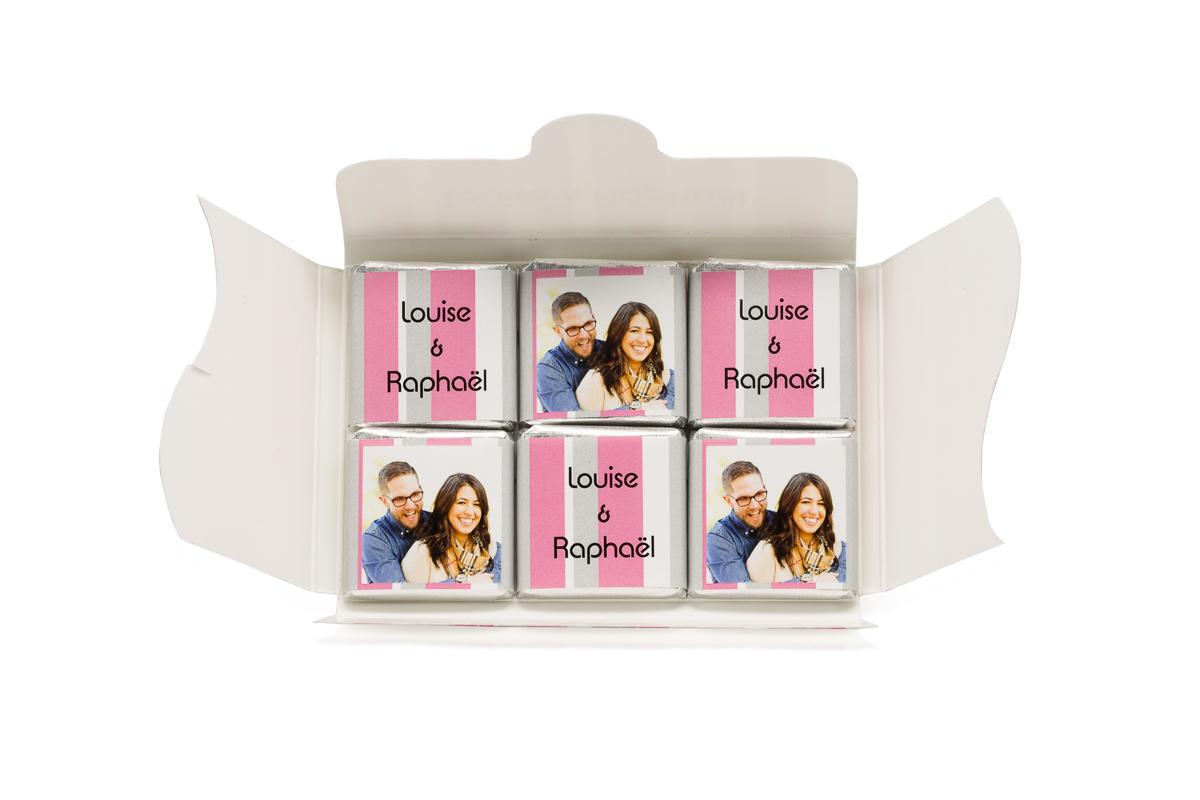 pochette personnalisée de 6 chocolats personnalisés bayadère