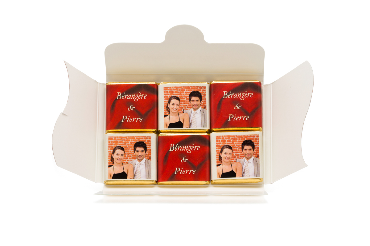 Pochette personnalisée de 6 chocolats personnalisés thème ivoire et bordeaux