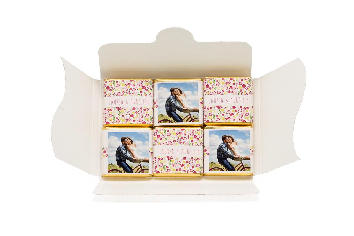Pochette personnalisée de 6 chocolats personnalisés thème liberty