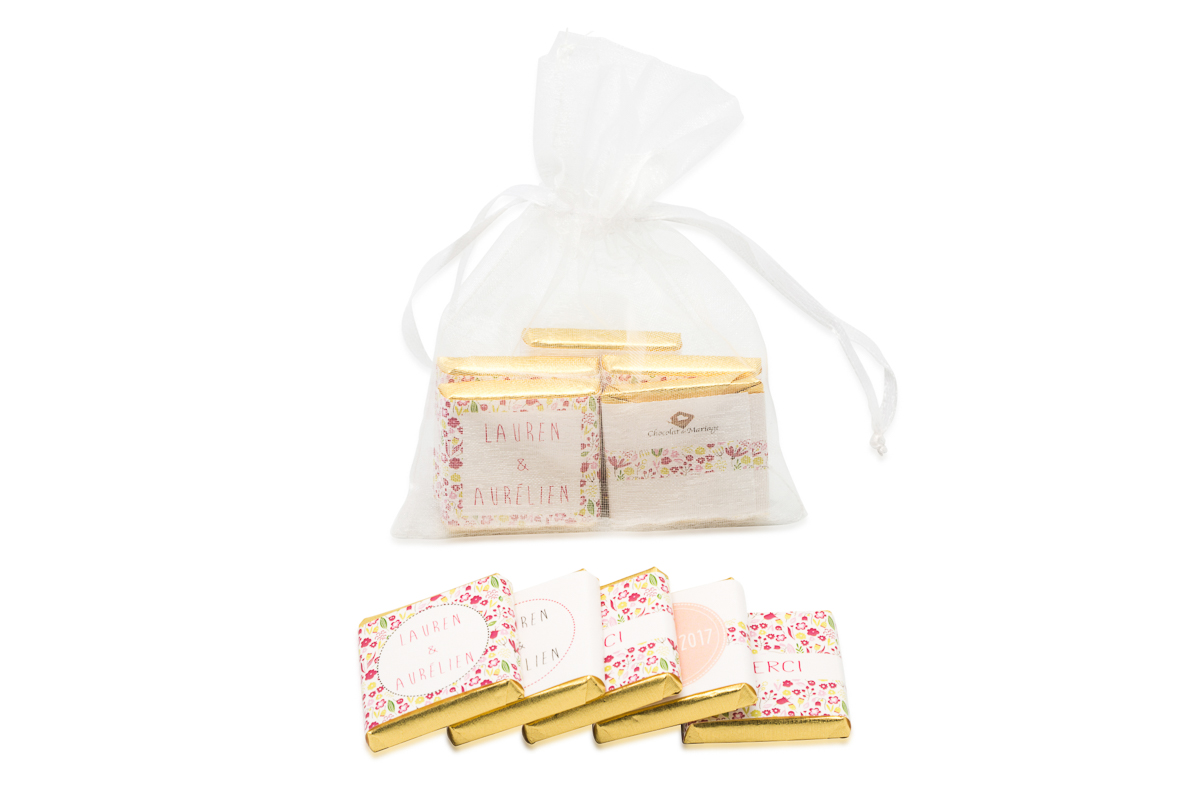 Sachet organza remplis de 5 chocolats personnalisés Thème liberty