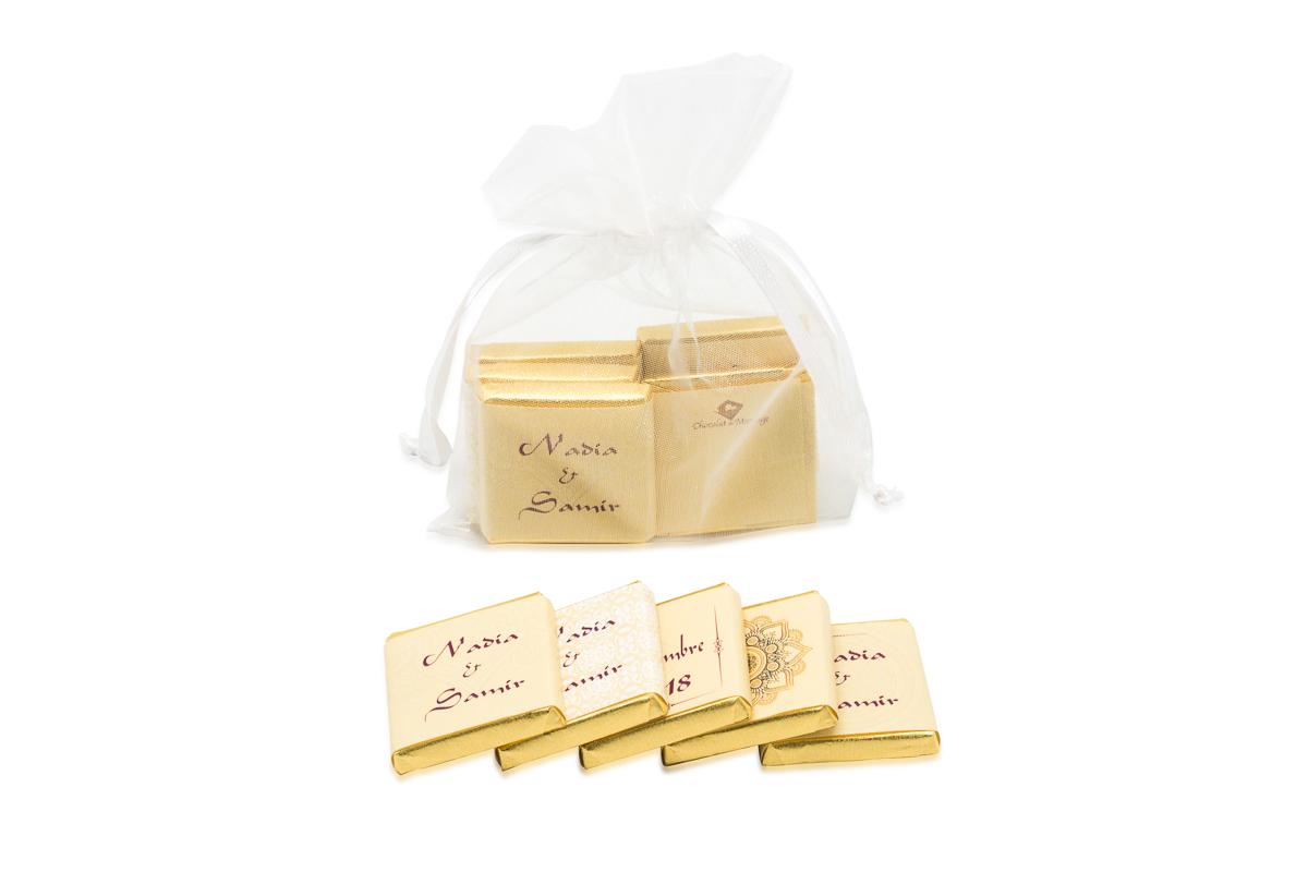 Sachet organza remplis de 5 chocolats personnalisés Thème oriental