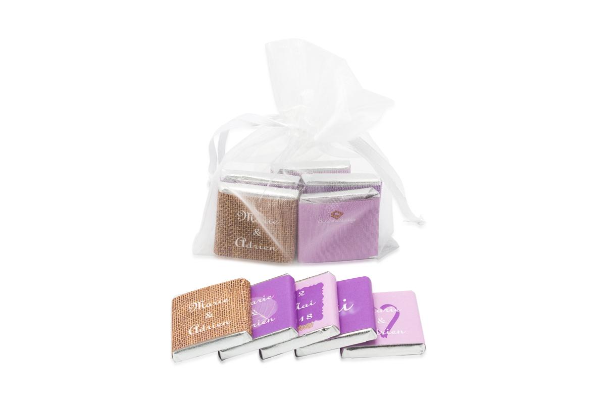 Sachet organza remplis de 5 chocolats personnalisés Thème ultraviolet