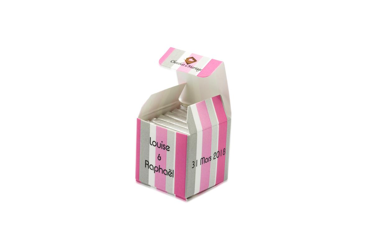 cube simple de 6 chocolats personnalisés bicolore Bayadère