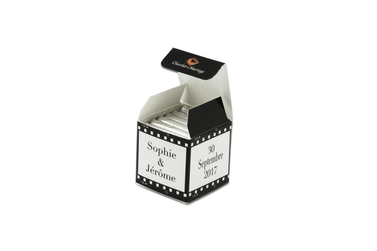 cube simple de 6 chocolats personnalisés Thème Cinéma