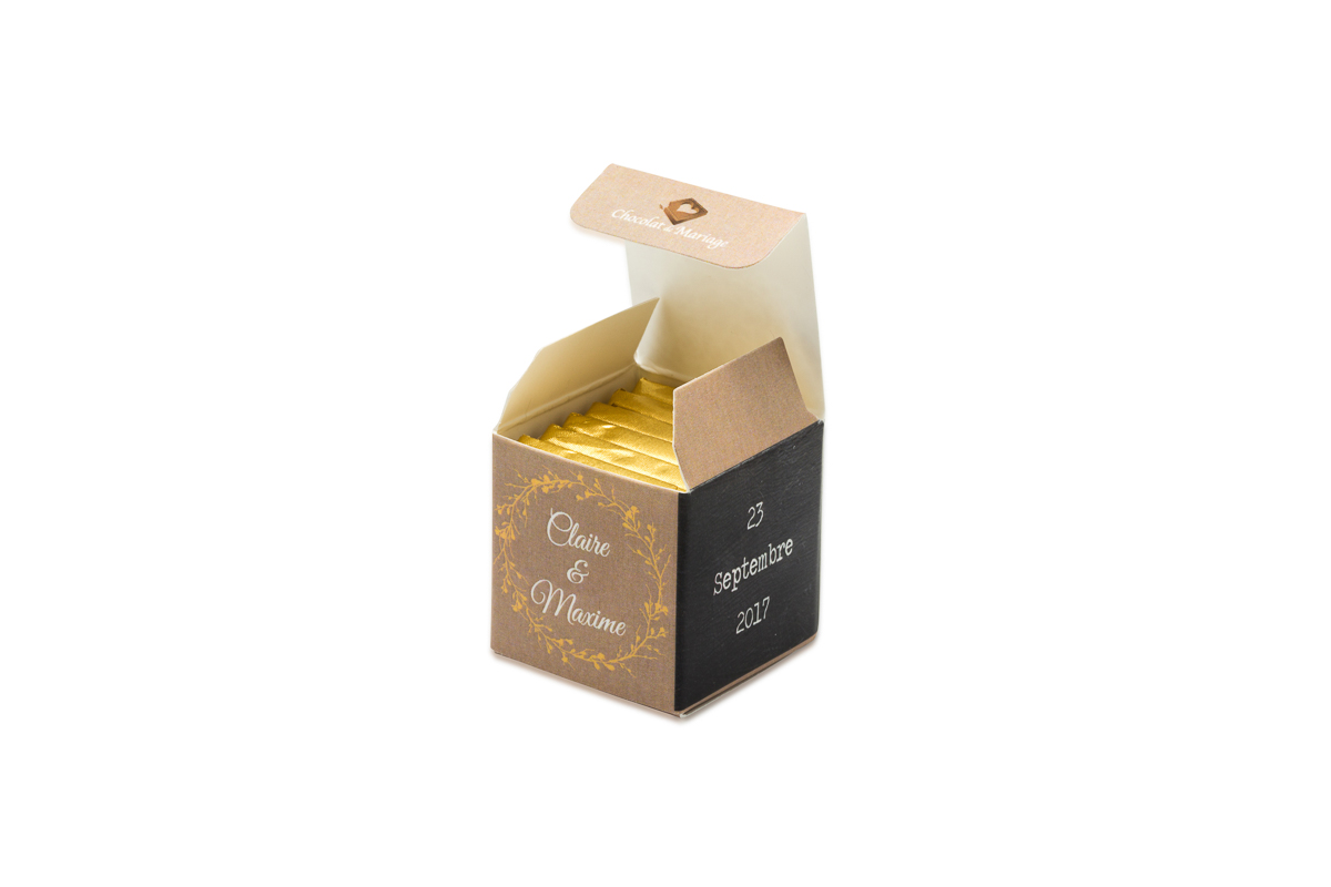 cube simple de 6 chocolats personnalisés Thème Dentelle Chic