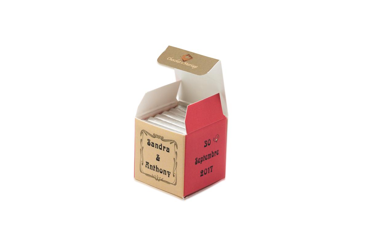 cube simple de 6 chocolats personnalisés Thème Vintage