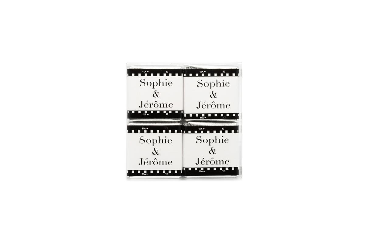 pochette de 4 chocolats personnalisés thème Cinéma