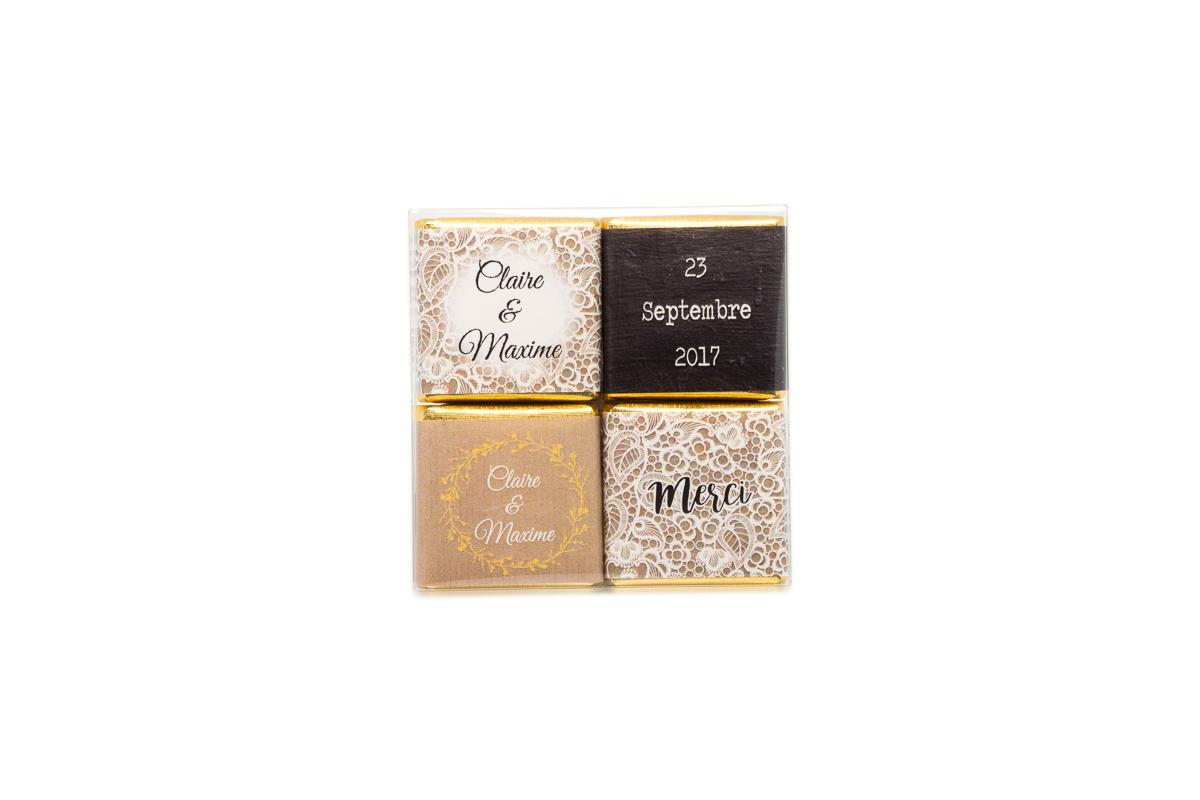 pochette de 4 chocolats thème dentelle chic