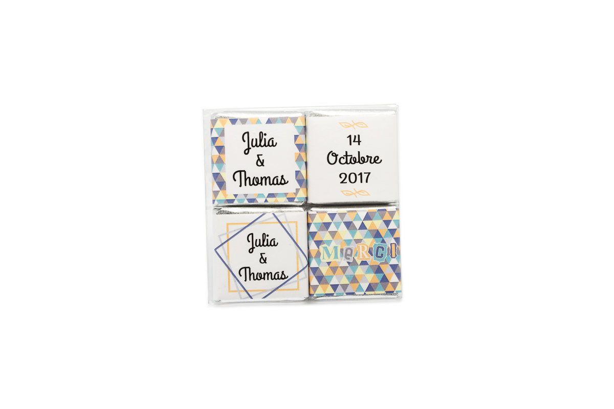 pochette de 4 chocolats thème Enfantin