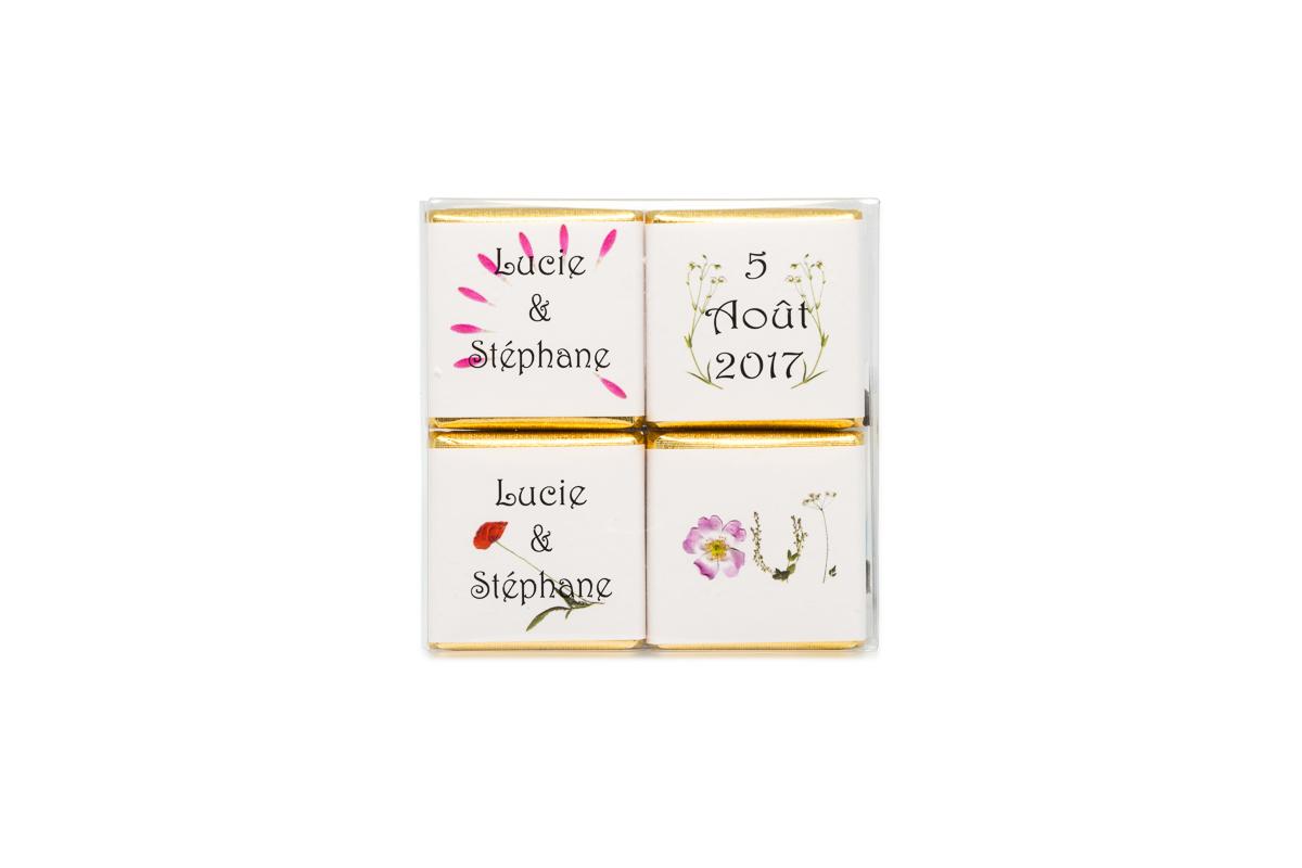 pochette de 4 chocolats personnalisés thème Fleurs
