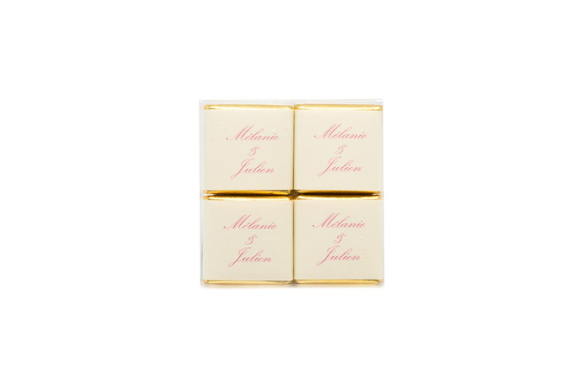 pochette de 4 chocolats personnalisés bicolore liserés