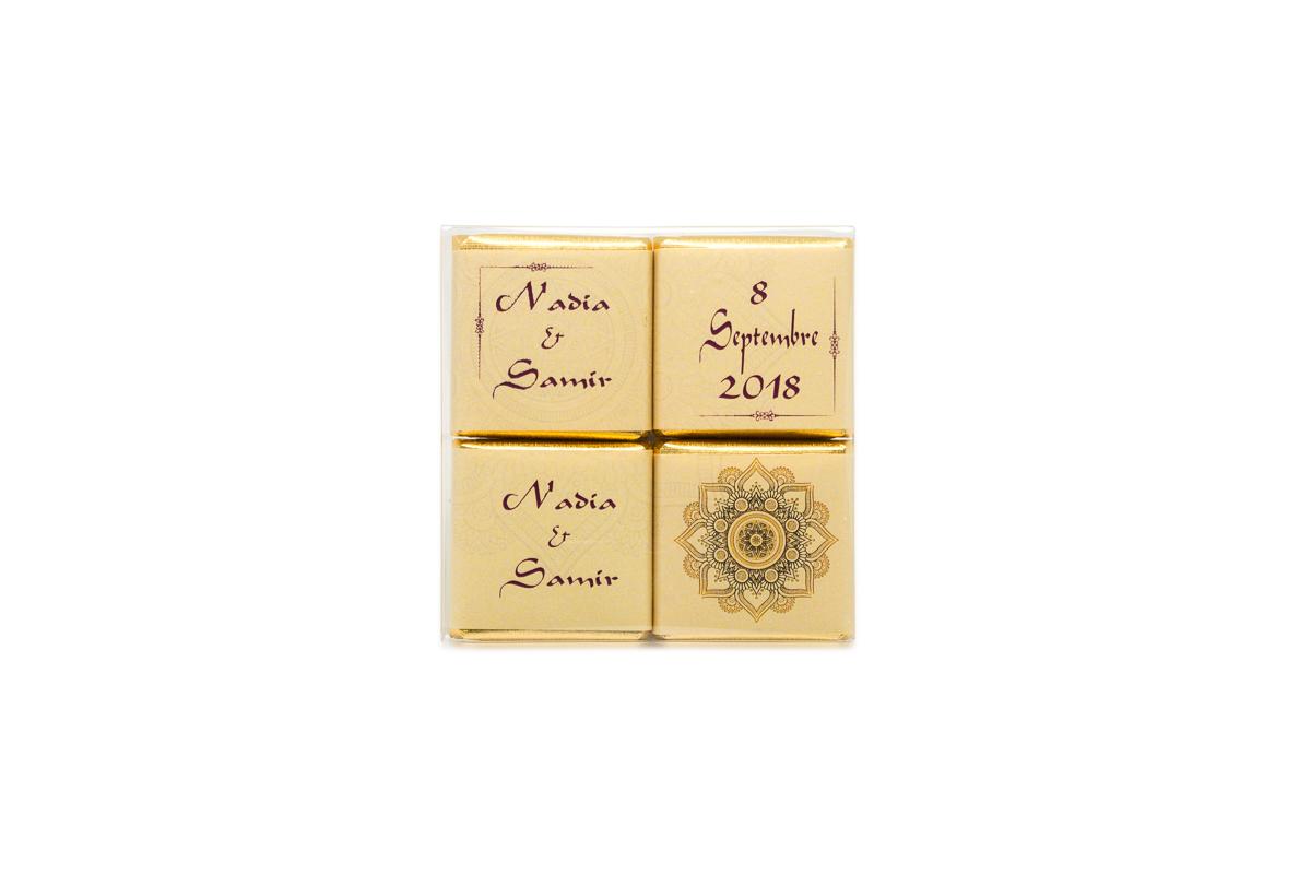 pochette de 4 chocolats personnalisés thème Oriental