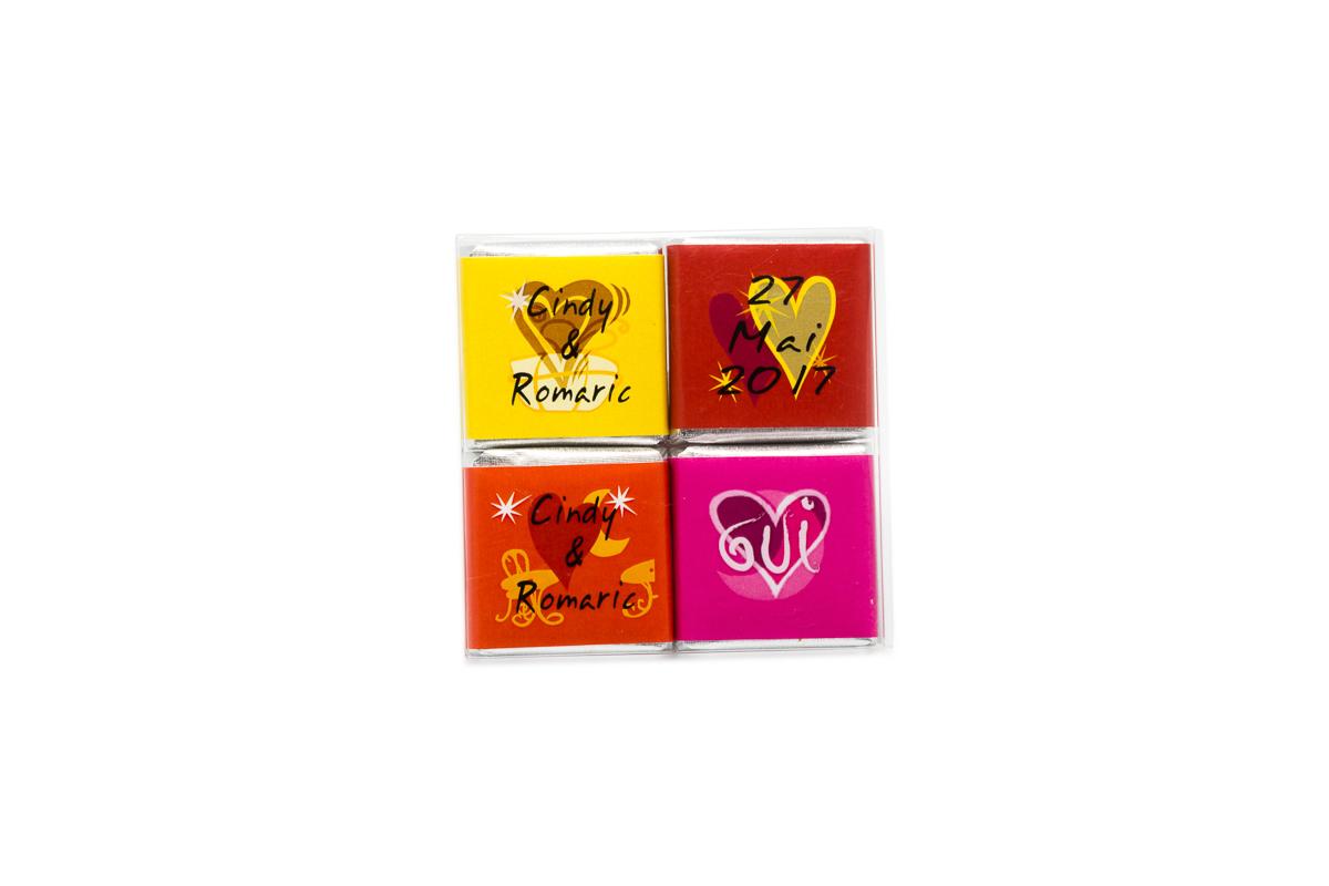 pochette de 4 chocolats personnalisés thème Tendance